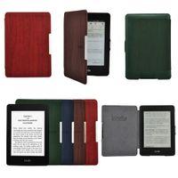 amazon - For Amazon Kindle Paperwhite Wood Pattern Wake Sleep Magnetic Leather Case Cover