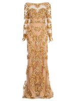 Cheap 2014 New Gold Real Picture Zuhair Murad Long Sleeve Trailing Appliques Illusion Dress Backless tulle Prom Gowns Formal Evening Dress NN89s