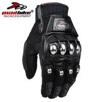 motorbike gloves - 2015 HOT Sale MADBIKE Stainless Steel Motorcycle Gloves Black Blue Motocross Gloves Guanti Motorbike Protective Guantes Luvas Para Moto