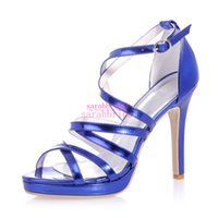 Wholesale Ladies Retro Sandals - Retro Bue Wedding Bridal Shoes For Brides Bridesmaids Gladiator Peep Toe Cheap Ladies Evening Party Prom Dress Patent Leather Pumps Sandals