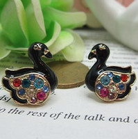 anna swan - European and American trade Anna Little Swan color crystal diamond earrings small black gemstone jewelry special manufacturers