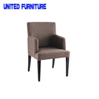 Wholesale Luxury French Style Upholstered Wooden Grain Dining Room Chair with armrests Simple fabirc Dining chair with armrests poliform grace chair f