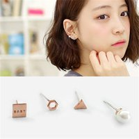 baby earrings rhodium - South Korean version baby overall geometry S925 sterling silver stud earrings suit
