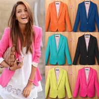 big button coat - A353 Hot women new fashion European colors plus big size candy color one button blazer suit autumn jacket coat drop ship