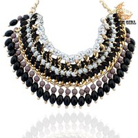 Cheap Wholesale-2015 New design Brand Costume Jewelry fashion women beads chokers Necklace & Hot selling za High quality necklaces wholesale