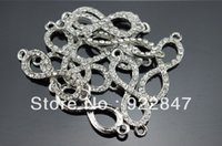 Wholesale Silve DIY Color Infinity Connectors Rhinestone In Alloy Connectors Crystal Pave For Jewerly Bracelet Making