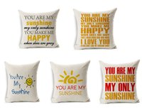 Wholesale FreeDHL Throw Pillow Case Sofa Decor Cushion Cover you are my sunshine cushion cover x45cm linen pillow cases style E349L