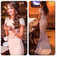 apple print fabric - Tarik Ediz Evening Dresses Real Image Formal Bridesmaid Dresses With Beading Sheath Crew Neck Cap Sleeves Zip Back Satin Fabric