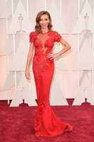 oscar - 2015 Oscar Giuliana Rancic Red Carpet Gown Celebrity Dresses Evening With Short Sleeve Sheath Sheer Neckline Lace Sweep Train Custom Made