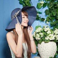 Cheap Stingy Brim Hat female Wide Large Brim Floppy Beach Hat Best 9 colors Top Hats Beach Hat female Sun hat Women