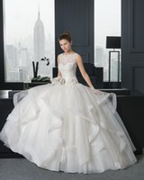 Wholesale 2014 New Trend A line Fashion Organza Lace Sleeveless Floor Length Covered Button Sweetheart Applique Waist Decoration Flower Wedding Dress