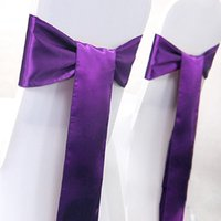 Wholesale 10pcs set Satin Chair Sash Ribbon Decoration Wedding events supplies party decoration Colors