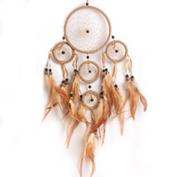Wholesale 1Pcs Coffee Indiana Style Handmade Dream Catcher with feathers Circular wall hanging decoration ornament DreamCatcher Gift
