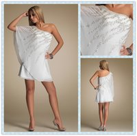 Wholesale Charming White Crystals Sheath Cocktail Dresses One Shoulder Neck Sleeveless Backless Short Mini Prom Gowns Customized Plus Size