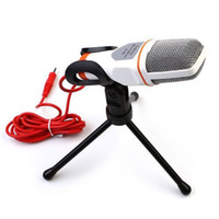 Wholesale White Professional Condenser Microphone Mic w Stand For PC Laptop Skype MSN Singing