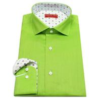 bespoke tailored shirts - Apple green linen fabric men s bespoke tailor made Dress Shirt contrast collar and cuff