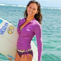 swim shirts - Summer Promotion New Surfing Swim Women Wet Suit Long Sleeve Tight Shirts Beach Diving Suit HXZ04