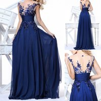 Cheap 2015 Nem Crew Evening Dress Backless Hollow Prom Party dresses Chiffon Zipper Sweep Train Evening Gowns Royal Blue As Pictures Sheer Back