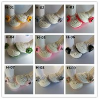baby shoe bells - Baby girl crochet shoes Toddler cotton Shoes Handmade infant Shoes cute Flower buckle Bell baby first walker shoes colors to choose