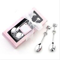 Wholesale 2014 New HE Delicate Pair Heart Tea Coffee Drinking Spoon Teaspoon Wedding Party Banquet Favor EH