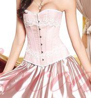 antique corset - Bslingerie Sexy Women Corset Rose Pink Antique Appliques Lace Overbust Bustier Corselet