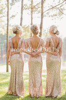 Wholesale 2015 Gold Sequin Bridesmaid Dress Long Rose Gold Maid of honor Dresses Mermaid Crew Short Sleeve Sparkly Formal Party Gowns Dresses