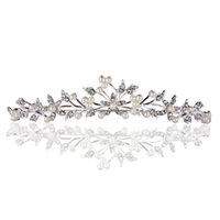 Wholesale Simple Leaf and Flower Shape Women Tiara with Pearl Rhinestone Headband Jewelry Ladies Wedding Party Hairband Headpiece J0370