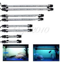 Бесплатные Аквариум Доставка Fish Tank 4W 48см 21 LED 5050 SMD Голубой Белый свет Бар Подводные погружные Водонепроницаемый Клип лампы