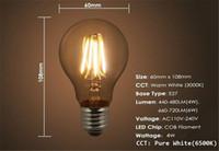 led super bright - Super Bright E27 Led Filament Bulbs Light Angle A60 Led Lights Edison Lamp W W W W V CE UL Warranty Year