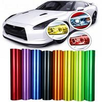 Wholesale Colorful Car Headlight Tail Light Fog Light Vinyl Wrap Sticker Car Light Decoration Stickers Decals Universal For All Car Roll Wrap m cm