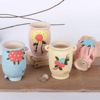 Wholesale Cute Small Ceramic Vases Modern Fashion Home Furnishing Flower pot Vases Crafts Modern Decoration Pastoral Style Tabletop Vase