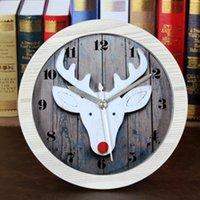 Wholesale Modern white green Wood Clock Dual Rural deer Bamboo Clock vintage alarm clock Clock Show Time