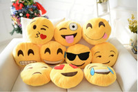 Wholesale 32cm Cushion Cute Lovely Emoji Smiley Pillows Cartoon Cushion Pillows Yellow Round throw pillow Stuffed Plush Toys for new year gift