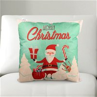 Wholesale Hot sale New Printing Merry Christmas Pillow Case Cover Square cm Linen Pillow Cover Throw Linen Room Covers
