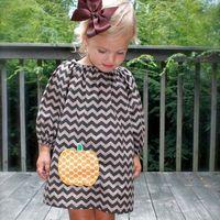 chevron clothing - Halloween Chevron Dress Girl Dress Casual Dresses Children Clothes Kids Clothing Summer Dresses Shirt Dress Childrens Dresses C12555
