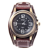 Cheap Wholesale-fashion casual Mens Big Dial Black Analog Quartz Movement Luxury women Men's Leather Band Quartz Wrist Watches Watch clock