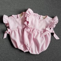 Wholesale Cotton linen cloth wrinkles baby climb clothes triangle bowknot girl Romper style years children clothes summer set S2
