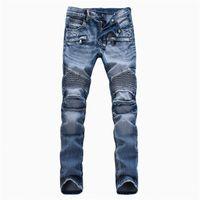 acid wash jeans - 2016 Fashion Denim blue jeans mens biker robin jean pants for male acid washed kanye jeans EU size ZA104
