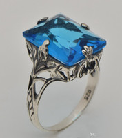 Wholesale is hollow out Victorian princess Korean celebrities fei real Swiss sapphire ring sterling silver ring
