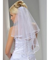 Wholesale In Stock Cheap Tulle White Bridal Veils with Comb Elbow Length Two Layer Ribbon Edge Wedding Accessories New Arrival