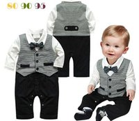 Wholesale New Baby Boy Kid Casual Romper Gentleman Pants long sleeve climb clothes Sets baby clothing for boys kids one piece romper baby clothes