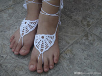 Wholesale White crochet barefoot sandal Anklets Crochet shoes sandal Wedding barefoot sandal bride shoes Sexy Bridesmaid barefoot Gift for her