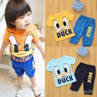 Cheap 2015 Summer Baby Kids Boys Girls Short Duck Outfits Set 2pcs Clothes 1-6Y