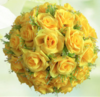 artificial flower ball - 15cm Decorative Flowers Artificial Flower Balls Kissing Balls Rose Flower Balls For New Year Wedding Decorations Bouquet
