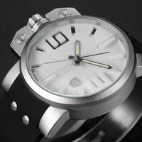 Men's big face wrist watches - New Shark Stainless Steel Silver Case White Dial Big Face Watch Men Luminous Silicone Strap Men Quartz Wrist Sport Watch SH169