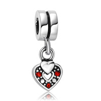 red heart charm - Red Crystal Hollow Heart Beads Sterling Silver European Charm fit Pandora Bracelets Snake Chain Jewelry