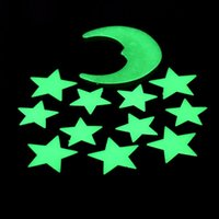 Wholesale 1Set Stars Moon Glow In The Dark Fluorescent Decal Plastic Wall Stickers Home Decoration free shiping