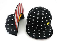 Wholesale Hot Styles Black and Navy Blue Flap Brim Star Snapback Caps