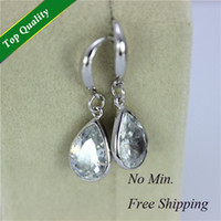 Wholesale 2015 Fashion Women Earing Water Drop Crystal Silver Wedding Earrings Dress Dangle Earring Pendientes Y053