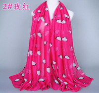Wholesale 7 Colors Mixed Lovely Women Scarf Animal Pattern Visco Scarves Wrap Penguin Style Best Gift Hot Sale